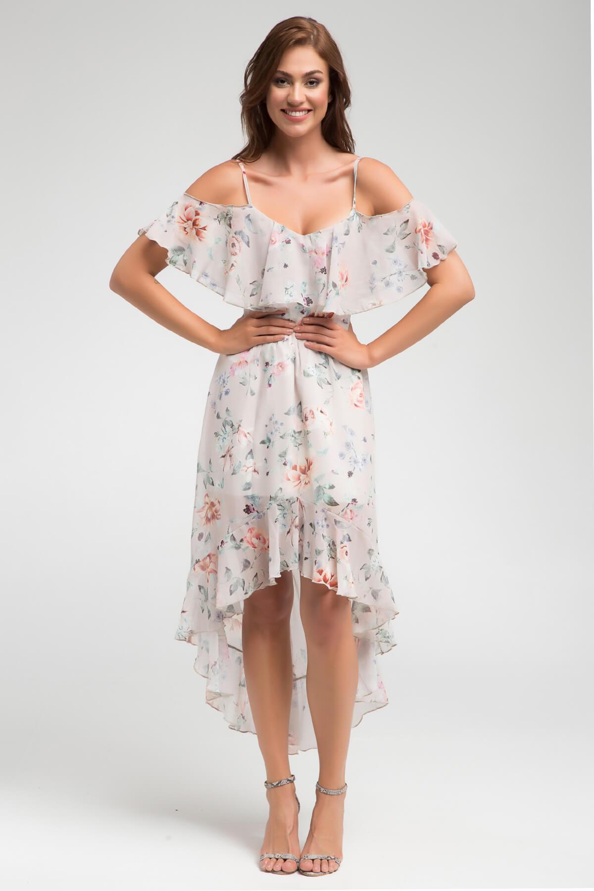 Laranor Kadın Desenli Yaka ve Volan Detaylı Asimetrik Kesim Elbise 17L5376