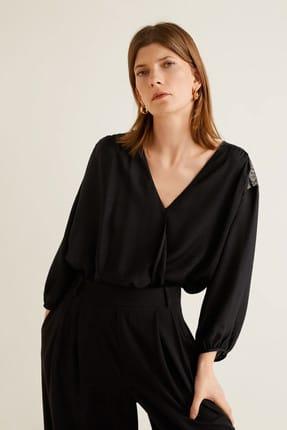 Mango Kadın Siyah Dantel Aplikeli Bluz 43027795 1