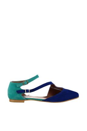 Fox Shoes Saks Mavi Su Yeşili Kadın Ayakkabı D726016902 1