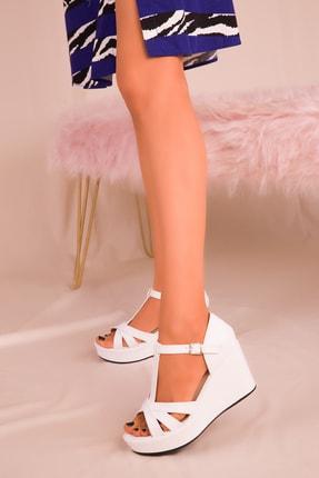 Soho Exclusive Beyaz Kadın Dolgu Topuklu Ayakkabı 16176 1