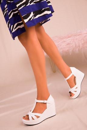 Soho Exclusive Beyaz Kadın Dolgu Topuklu Ayakkabı 16176 2