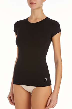US Polo Assn Kadın Siyah O Yaka T-shirt 66162 0