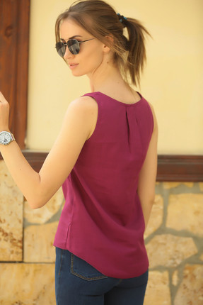 armonika Kadın Mürdüm Yakası Açık Cepli Kolsuz Bluz ARM-18Y003014 2