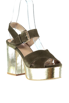 Derimod Hakiki Deri Haki Kadın Topuklu Ayakkabı 1