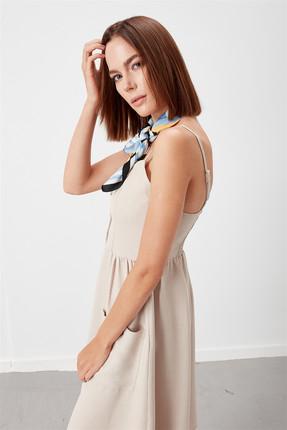 Journey Kadın Bej Ön Orta Tüm Düğmeli İnce Askılı Torba Cep Kloş Elbise 18YELB262 1