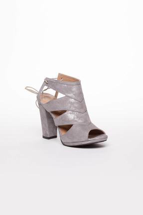 Deripabuc Hakiki Deri Gri Nubuk Kadın Topuklu Deri Ayakkabı Dp04-6300 2