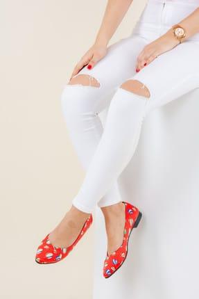 Fox Shoes Kırmızı Kadın Babet F726803204 0