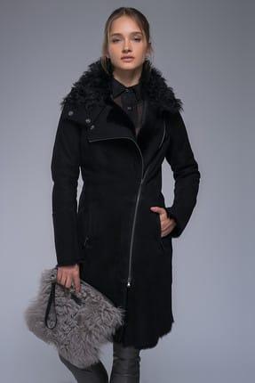 Hakiki Yünlü Deri Yakada Kumaş Detaylı Palto resmi