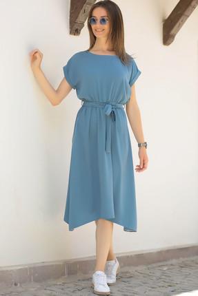 armonika Kadın İndigo Beli Lastikli Bağlamalı Elbise ARM-18Y001120 2