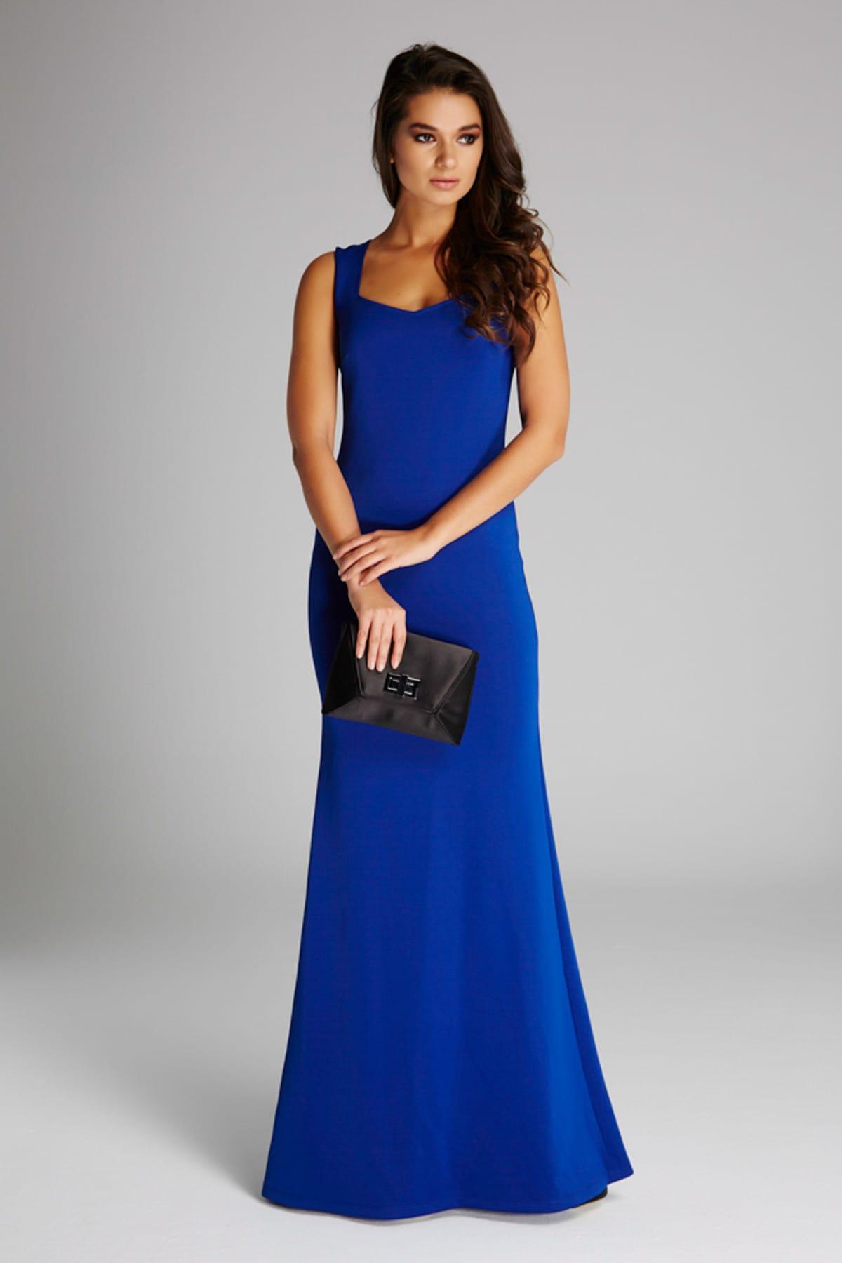 Kadın Saks Yaka Detaylı Abiye Elbise 14L4113-L