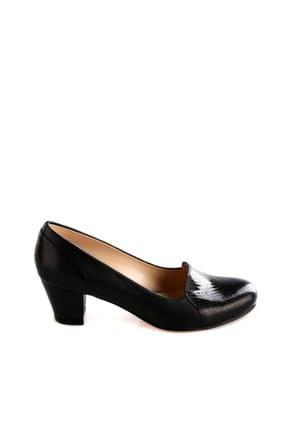 Dgn Siyah Rugan Siyah Kadın Klasik Topuklu Ayakkabı 258-148 1