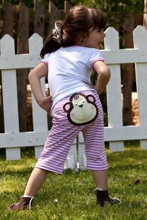 Picture of Kız Çocuk Pembe Beyaz Maymun Penye Kapri CFF-12YCMAY-K