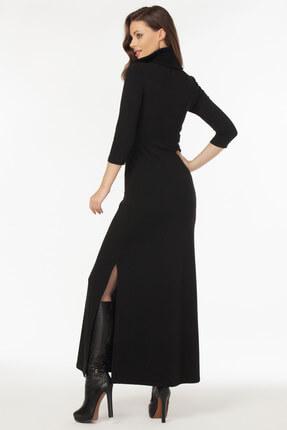 Laranor Kadın Siyah Yaka ve Yırtmaç Detaylı Triko Elbise 19L6481 2