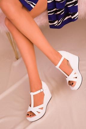Soho Exclusive Beyaz Kadın Dolgu Topuklu Ayakkabı 16176 0