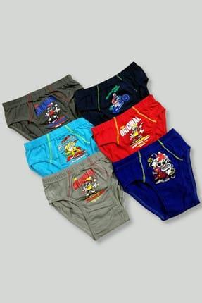 Tutku Erkek Çocuk Çok Renkli 6'Lı Paket 0138 Elastan Pamuk Baskılı Külot 0