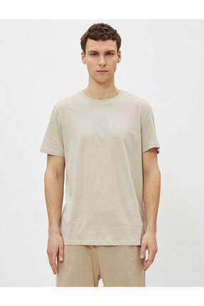 Koton Erkek Ekru Bisiklet Yaka T-Shirt 2