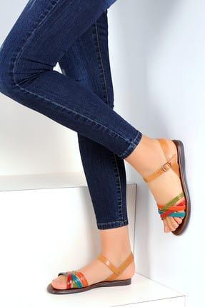 Pembe Potin Hakiki Deri Multi Kadın Sandalet A1133-19 0