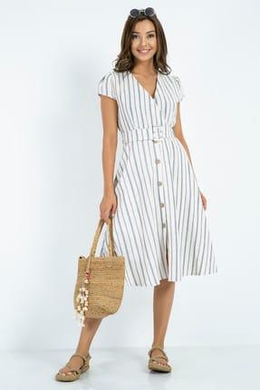 Sateen Kemer Düğmeli Keten Elbise - Taş-indigo 0