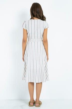 Sateen Kemer Düğmeli Keten Elbise - Taş-indigo 2