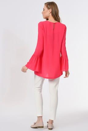 Mizalle Kadın Fuşya Basic Kolları Volanlı Bluz 19YGMZL1012015 4