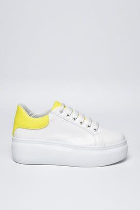 Jeep Ayakkabı Beyaz Sarı Neon Kadın Spor Ayakkabı 9Y2SAJ0005 2