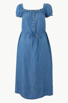 Marks & Spencer Kadın Mavi Yakası Düğmeli Midi Elbise T42005609 2