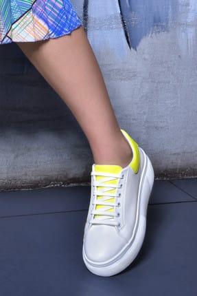 Jeep Ayakkabı Beyaz Sarı Neon Kadın Spor Ayakkabı 9Y2SAJ0005 1