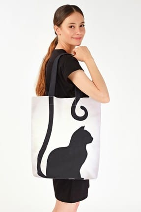 Addax Kadın Kedi Desenli Çanta Ç09 ADX-0000019107 1