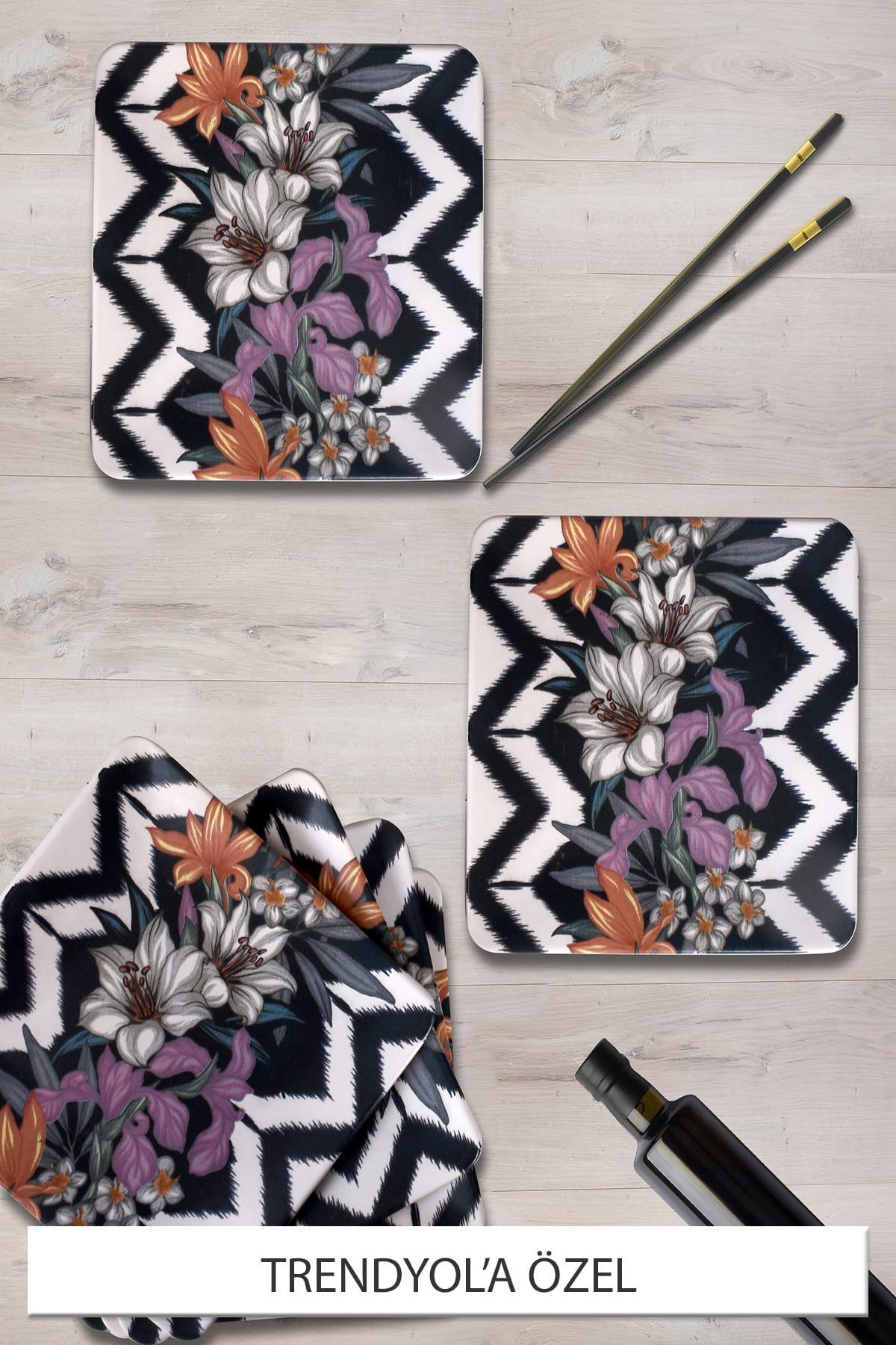 Mor Çiçek Servis Tabağı 25 Cm 6 Adet - 17924