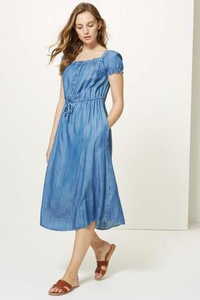 Marks & Spencer Kadın Mavi Yakası Düğmeli Midi Elbise T42005609 0