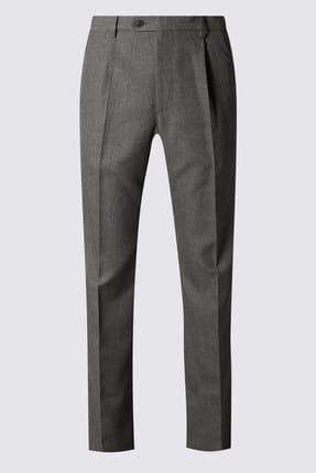 Marks & Spencer Erkek Gri Regular Fit Pantolon T17003214M 2