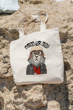 تصویر از Bag Born To Ride Aslan Alışveriş Plaj Bez Çanta