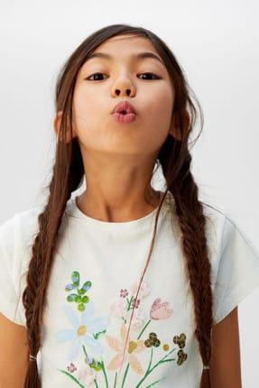 Mango Kırık Beyaz Kız Çocuk Desenli Pamuklu Tişört 53031091 4