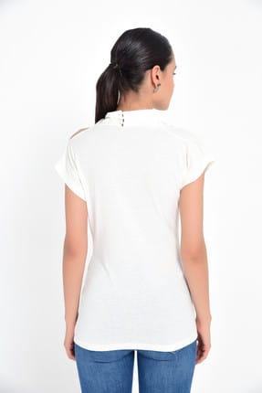 Hanna's Kadın Beyaz Omuzu Açık Kısa Kollu Bluz HN1822 3