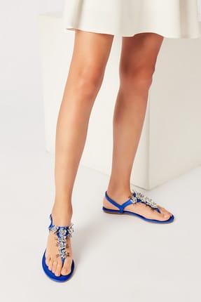 İnci Hakiki Deri Koyu Mavi Kadın Sandalet 120130002045 0