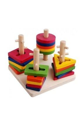 RoseRoi Ahşap Eğitici Oyuncak Bultak+Geometrik Set +Tangram+Kule 6'lı Set 3