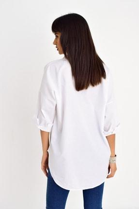 Cool & Sexy Kadın Beyaz Fermuarlı Gömlek DY25580 2
