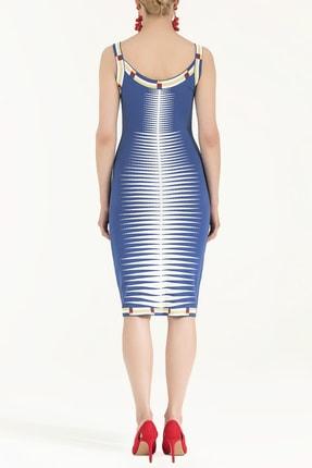 SOCIETA Kadın Desen Örgülü Kolsuz Triko Elbise Mavi 28027 3