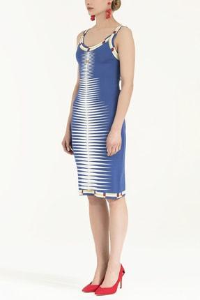 SOCIETA Kadın Desen Örgülü Kolsuz Triko Elbise Mavi 28027 1