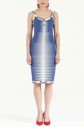 SOCIETA Kadın Desen Örgülü Kolsuz Triko Elbise Mavi 28027 0
