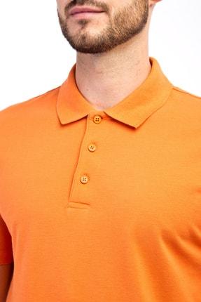 Kiğılı Erkek Turuncu Polo Yaka Düz Slimfit T-Shirt - 9093 2