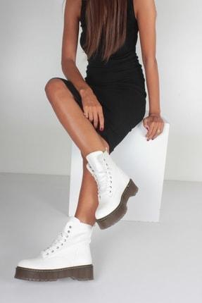 İnan Ayakkabı Beyaz Cilt Kadın Bot KY92515 3