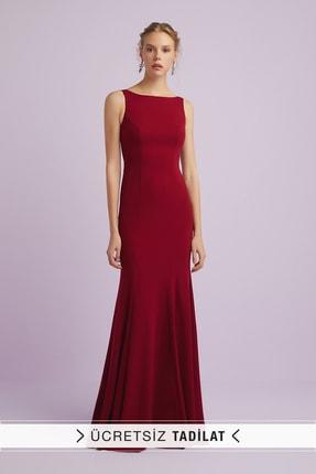 Kadın Şarap Rengi Askılı Krep Abiye Elbise 4XLVC3766 4XLVC3766_BURGUNDY