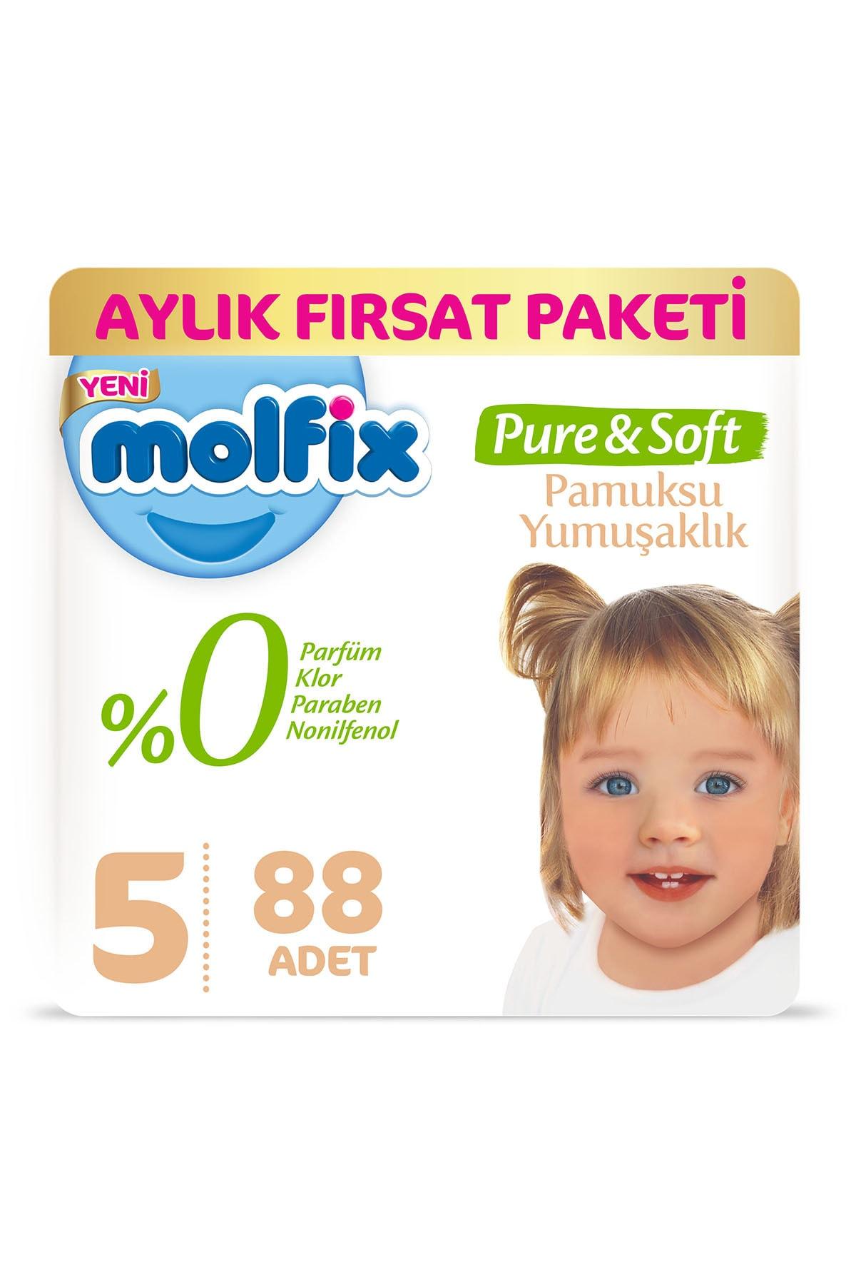 Molfix Pure&Soft Bebek Bezi 5 Beden Junior Aylık Fırsat Paketi 88 Adet 0
