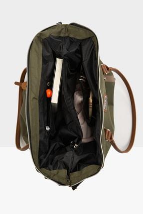 Bagmori Haki Kadın Çizgi Baskılı Metal Aksesuarlı Çanta M000003608 4