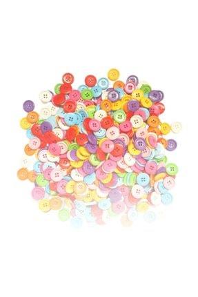 ByOzras Renkli Akrilik Yuvarlak Düğme 50 li 1