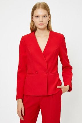 Koton Kadın Kırmızı Düğme Detaylı Ceket 0KAK52938UW 2