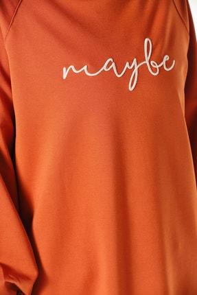ALLDAY Kadın Kiremit Nakışlı Penye Tunik Sweatshirt P51983 2