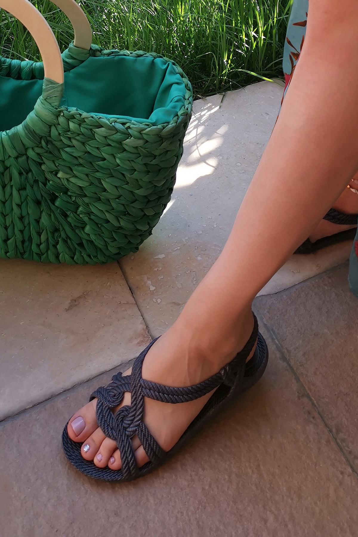 Ayakkabı Modası Lacivert Kadın Sandalet M9999-19-100244R 0