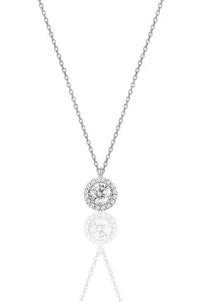 Söğütlü Silver Kadın Gümüş  Pırlanta Montürlü Tek Taş Kolye SGTL9906 0